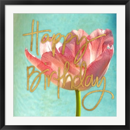 Framed Pink Tulip Birthday Print