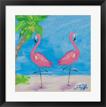 Framed Fancy Flamingos IV Print