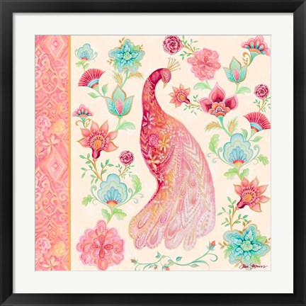 Framed Pink Medallion Peacock I Print