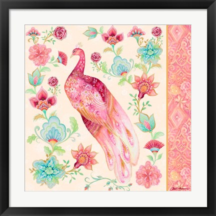 Framed Pink Medallion Peacock II Print