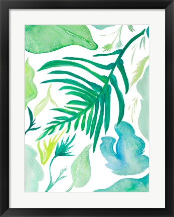 Framed Green Water Leaves I Print