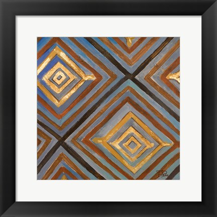 Framed Ikat and Pattern with Gold Print
