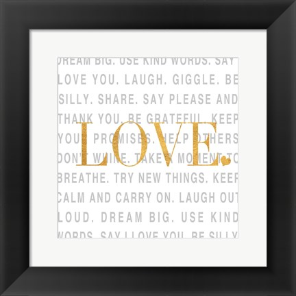 Framed Gold Love and Life I Print