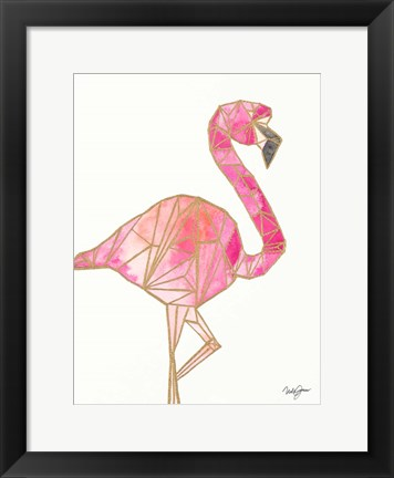 Framed Origami Flamingo Print