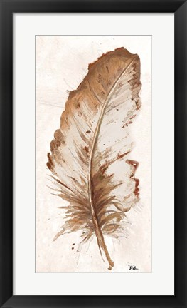 Framed Brown Watercolor Feather II Print