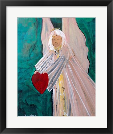 Framed Angel Sharing Heart Print