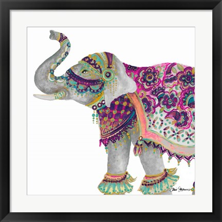 Framed Boho Elephant Square Print