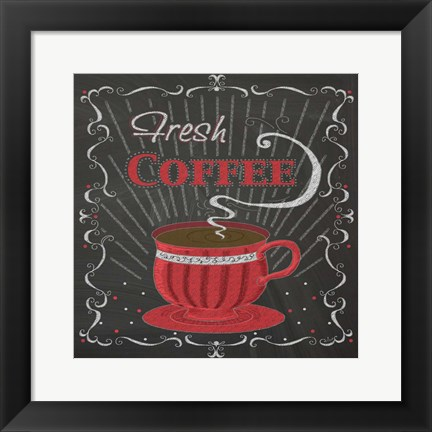 Framed Coffee Chalk Square I Print
