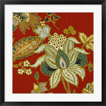 Framed Red European Floral II Print