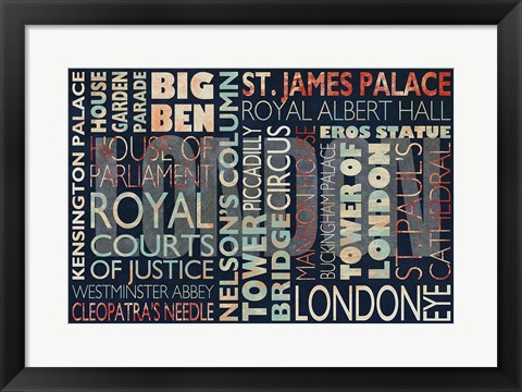 Framed London places Print