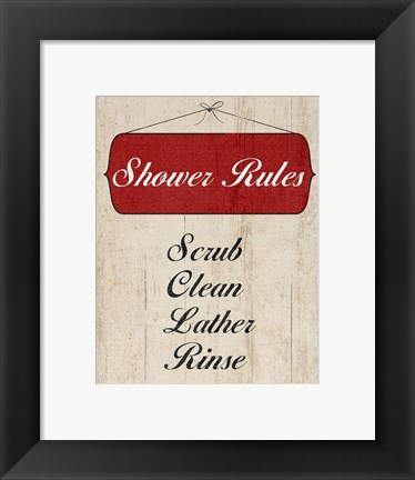 Framed Bath Rules II Print