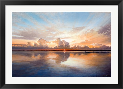 Framed Sunset over Lake Print