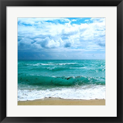 Framed Teal Surf II Print