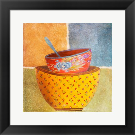 Framed Collage Bowls II Print