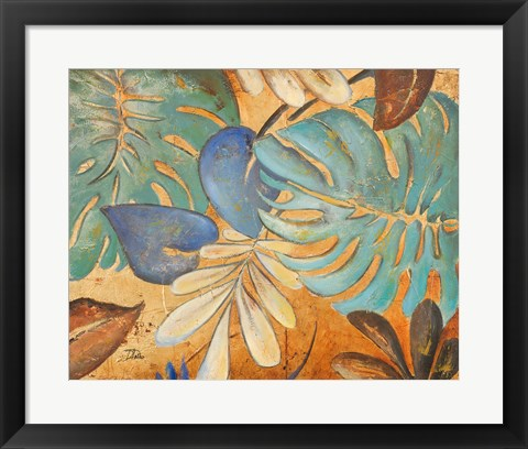 Framed Gold and Aqua Leaves I Print