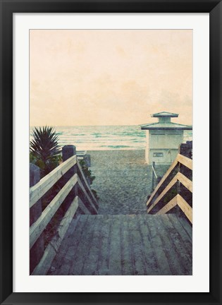 Framed Filtered Beach Photo I Print