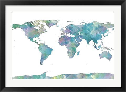 Framed World Map Watercolor Print