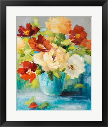 Framed Flowers in Teal Vase (1) Print