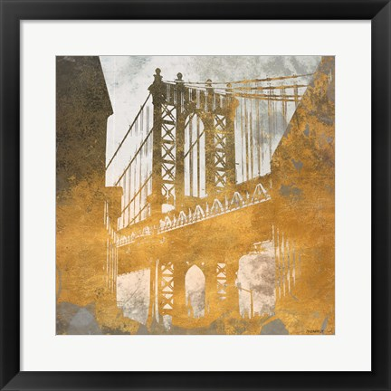 Framed NY Gold Bridge at Dusk II Print