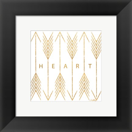 Framed Cupid's Arrows Gold I Print