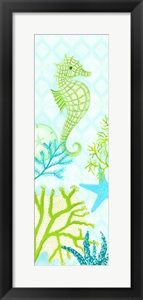 Framed Seahorse Reef Panel I Print