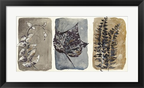 Framed Watercolor Sepia Leaves I Print