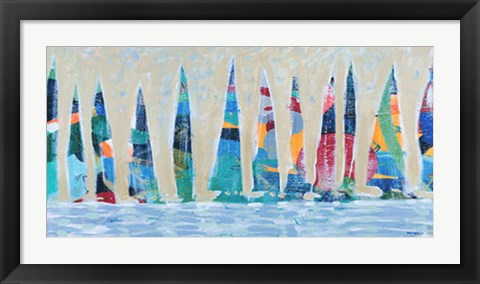 Framed Dozen Colorful Boats Panel Print