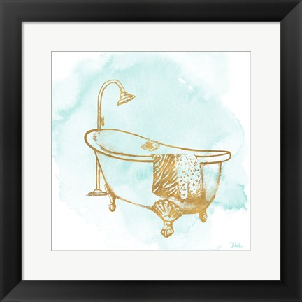 Framed Le Tub on Teal I Print