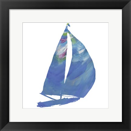 Framed Set Sail on White II Print