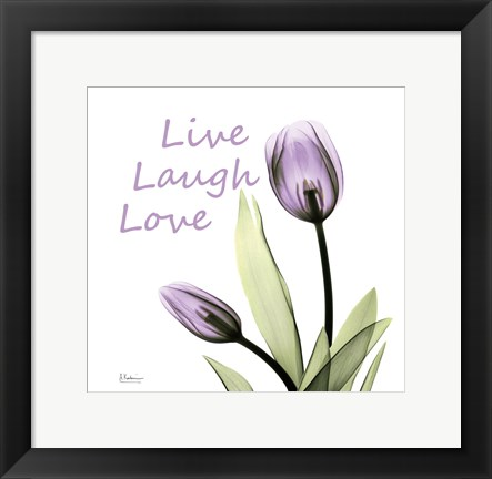 Framed Purple Tulips Live Laugh Love Print