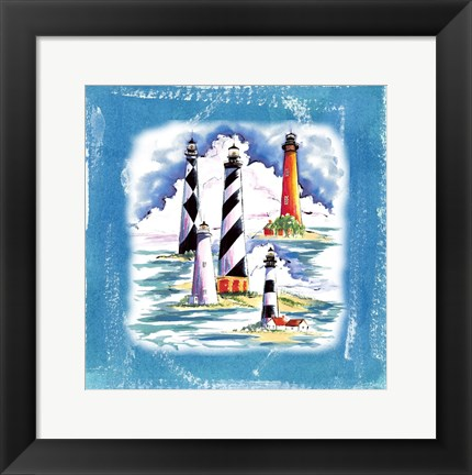 Framed Beach-Front-Lighthouses Print