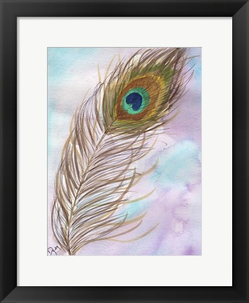 Framed Peacock Feather 1 Print