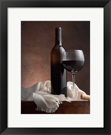 Framed Red Wine And Cork Print