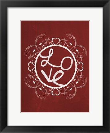 Framed Red Chalk Love Print
