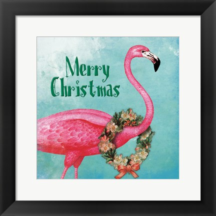 Framed Christmas Flamingo Text Print