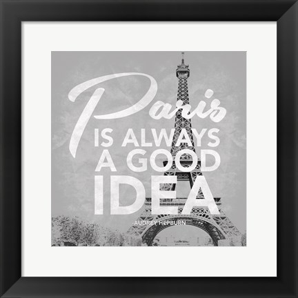 Framed Paris Grey Print
