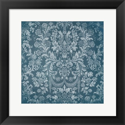 Framed Blue Floral Chaos Print