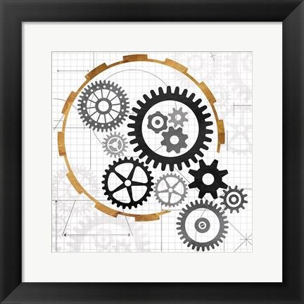Framed Cog Blueprints Print