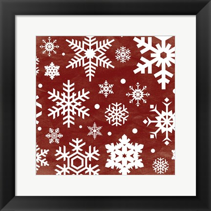 Framed Red Snow Flakes Print