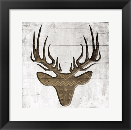Framed White Wood Deer Mate Print