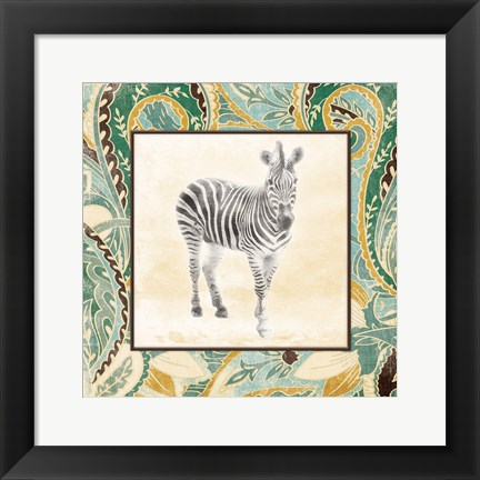 Framed Floral Sea Zebra Print