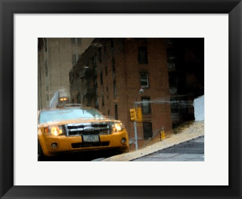 Framed NYC Taxi Puddle 0643 E Print