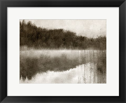 Framed Misty Morning on the Lake Print
