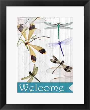 Framed Welcome Dragonflies Print