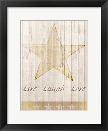 Framed Live Laugh Love Gold Print