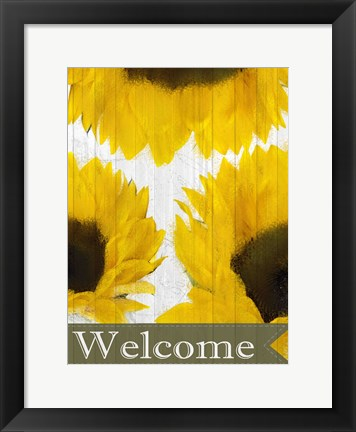 Framed Sunflowers Welcome Print