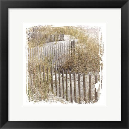 Framed Fence By The Beach Print