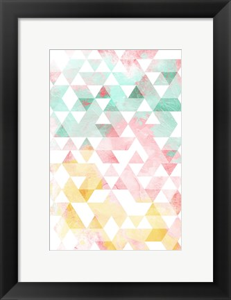 Framed Pastel Triangles Mate Print
