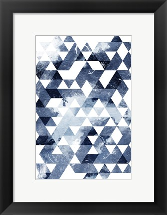 Framed Blue Triangles Print