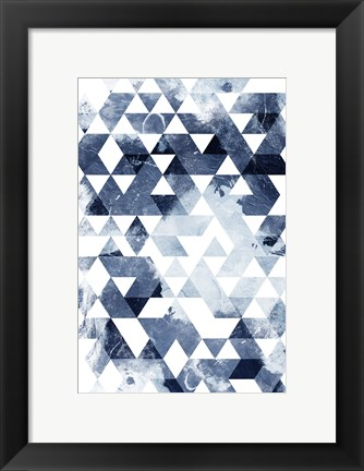 Framed Blue Triangles Mate Print